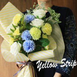 春に向けて、【エンボス・ワックス イエローストライプ】の花束使用例