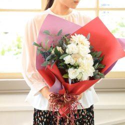 【SIBORI 赤紅色・藤色】花束ラッピングのご紹介